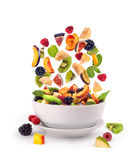Fresh mixed fruits pieces falling Royalty Free Stock Photography