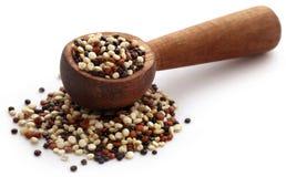 Fresh mixed quinoa. In wooden spoon Stock Photo