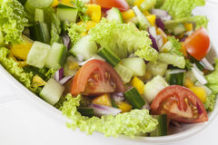 Fresh Mixed Salad. A bowl of fresh mixed salad, with lettuce, cucumber, tomato, red onion, yellow capsicum,celery, parsley Royalty Free Stock Photos