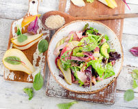 Fresh mixed salad with bacon royalty free stock photos