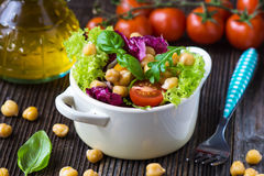 Fresh mixed  salad with Chickpea Royalty Free Stock Images