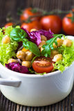 Fresh mixed  salad with Chickpea Stock Photo