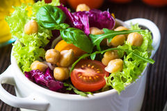 Fresh mixed  salad with Chickpea Royalty Free Stock Photos