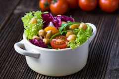 Fresh mixed  salad with Chickpea Stock Image
