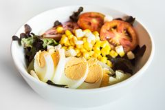 Fresh mixed salad with egg Royalty Free Stock Images