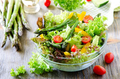 Fresh mixed salad with green asparagus for healthy snack Stock Images