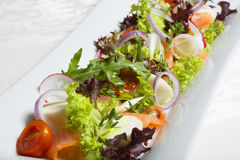 Fresh mixed salad with salmon Stock Images