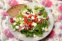 Mixed salad. A fresh mixed salad with tomatoes and feta cheese Royalty Free Stock Image