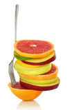 Fresh mixed slices of fruit royalty free stock image