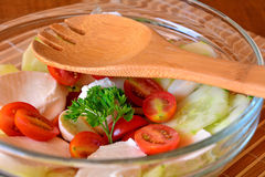 Fresh mixed vegetable salad with cucumber,mozzarella and tomatoes Stock Photo