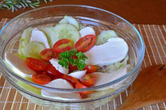 Fresh mixed vegetable salad with mozzarella,cucumber and tomatoes Stock Photography