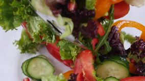 Fresh mixed vegetables falling into bowl of salad stock footage