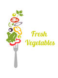 Fresh mixed vegetables on fork. Logo design vector template. Logotype concept icon. Chopped vegetables tomatoes, broccoli, lettuce, onion, cucumber, peppers vector illustration