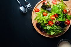 Fresh mixed vegetables salad. On a wooden plate royalty free stock photography