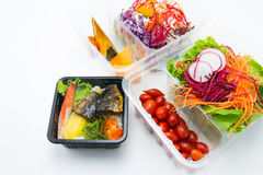 Fresh mixed vegetables salad with grilled saba Stock Images