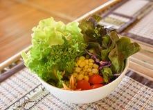 Fresh mixed vegetables salad. Organic Hydroponics vegetables stock photo