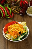 Fresh mixed vegetables salad. Selective focus royalty free stock image