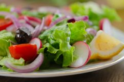 Fresh mixed vegetables salad. Selective focus. Fresh mixed vegetables salad on white plate. Selective focus,blurred background stock photos
