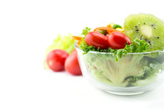 Fresh mixed vegetables salad. Fresh mixed vegetables salad on white background royalty free stock photos