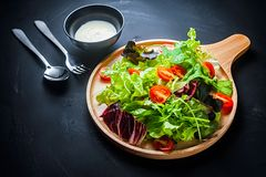 Fresh mixed vegetables salad. On a wooden plate royalty free stock images