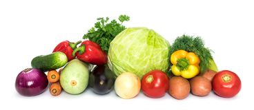 Fresh mixed vegetables. Set of fresh mixed vegetables on white background stock photography