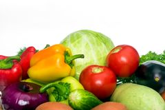 Fresh mixed vegetables. Set of fresh mixed vegetables on white background stock images