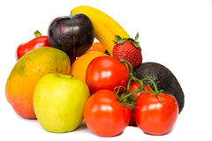 Fresh mixure of fruits and vegetable with white background Stock Images