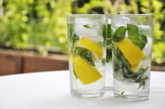 Fresh mojito. In glasses on white table outdoor Royalty Free Stock Image