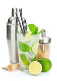 Fresh mojito cocktail and bar utensils Royalty Free Stock Image