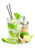 Fresh mojito cocktail and bar utensils Stock Photography