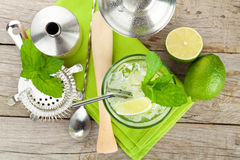 Fresh mojito cocktail and bar utensils Stock Photo