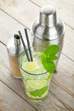 Fresh mojito cocktail and bar utensils Royalty Free Stock Photography