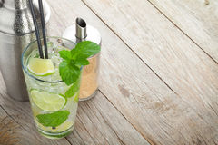 Fresh mojito cocktail and bar utensils Royalty Free Stock Images