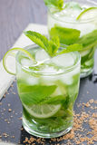 Fresh mojito cocktail with lime and mint, close-up Stock Photo