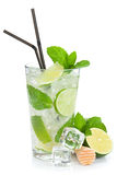 Fresh mojito cocktail and limes with mint Royalty Free Stock Image