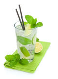 Fresh mojito cocktail and limes with mint Stock Photography