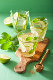Fresh mojito cocktail over green background Stock Photos