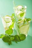 Fresh mojito cocktail over green background Royalty Free Stock Photography