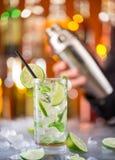Fresh mojito drink on bar desk stock image