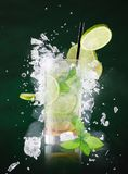 Fresh mojito drink with liquid and drift Stock Images