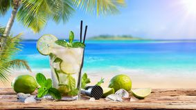 Fresh Mojito Drink On Table. In Tropical Beach stock image