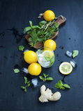 Fresh mojito ingredients with lemon, ginger, mint herb leaves an Stock Images