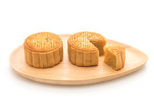 Fresh moon cake. On white background royalty free stock photo