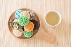 Fresh moon cake. On wood plate stock image