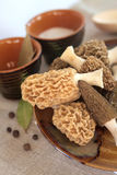 Fresh morel mushrooms on a plate Stock Photography