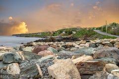 Fresh morning break at the Avalalon peninsula fishing village, Newfoundland, Canada. Beautiful scenery from Newfoundland landscape, Canada. Rugged ocean scenery stock photography