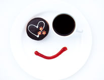 Fresh morning breakfast. Cake with cup of black coffee Stock Photos