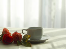 Fresh morning coffee on the bed, select focus. stock photos