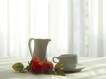 Fresh morning coffee on the bed, select focus. stock photo