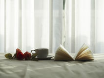 Fresh morning coffee on the bed, select focus. royalty free stock photos